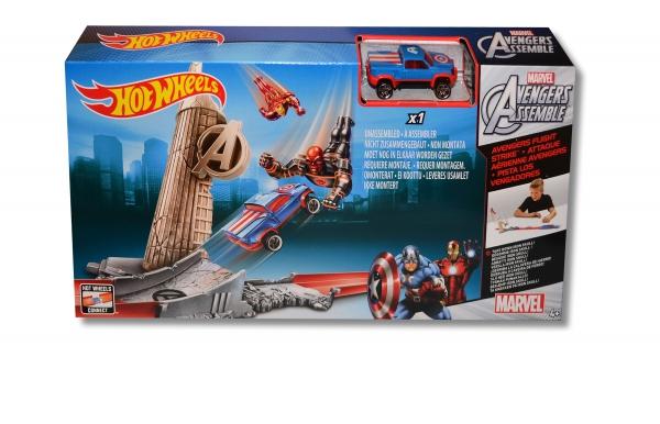 hot wheels marvel 39 avengers fliegen strike 39 schienenset. Black Bedroom Furniture Sets. Home Design Ideas