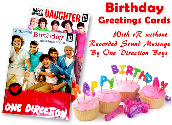 official one direction birthday card with w/o sound message for, Birthday card