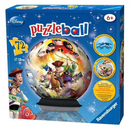 Disney pixar characters 72 piece globe 3d jigsaw puzzle ball game