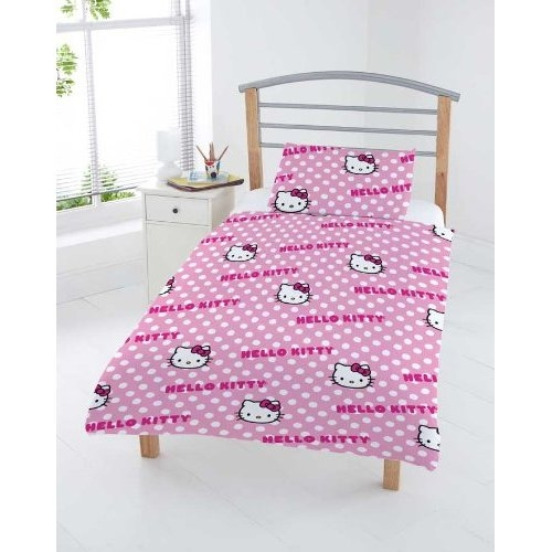 hello kitty gepunktetes junior kinder bettw sche kissenbezug 4 tlg ebay. Black Bedroom Furniture Sets. Home Design Ideas