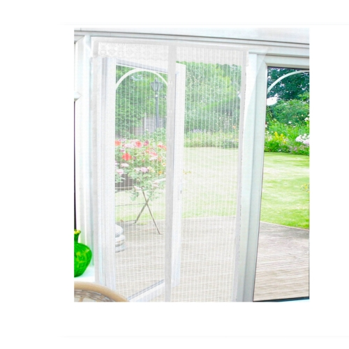 White magnetic insect door screen curtain wasp patio for Double patio door fly screen