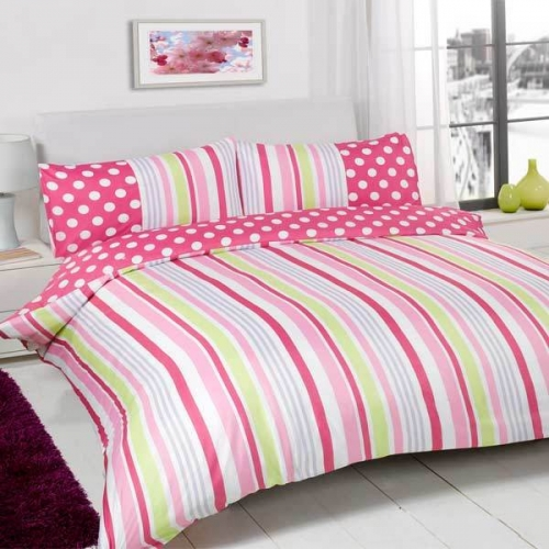 sugar stripe plain dyed polka dot reversible duvet cover bed set new gift ebay. Black Bedroom Furniture Sets. Home Design Ideas