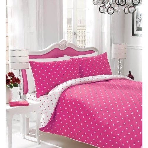 sugar stripe plain dyed polka dot reversible duvet cover bed set new gift ebay. Black Bedroom Furniture Sets. Home Design Ideas
