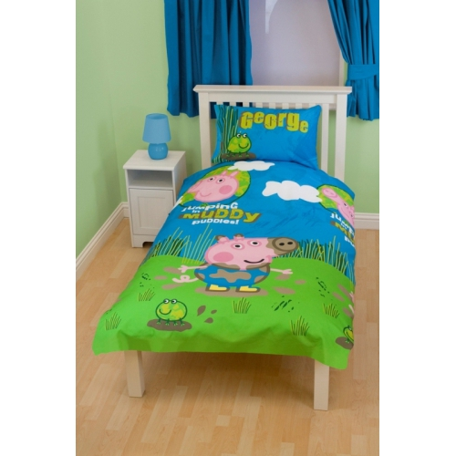 George pig peppa puddles single twin bedding duvet quilt for George pig bedroom ideas