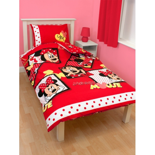 DISNEY MINNIE MOUSE DIVA SINGLE TWIN BEDDING DUVET QUILT COVER