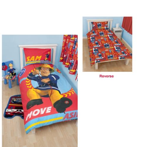 Fireman Sam 39 Alarm 39 Reversible Panel Single Bed Duvet Quilt Cover Set