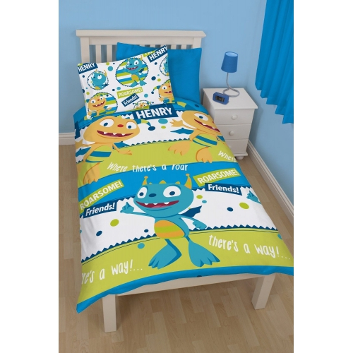 disney henry huggle monster roar rotierend einzelbett bettdecke bettbezug set ebay. Black Bedroom Furniture Sets. Home Design Ideas