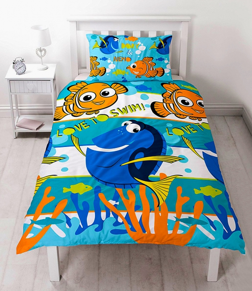disney le monde de nemo 39 dory 39 lit simple rotatif ensemble housse de couette ebay. Black Bedroom Furniture Sets. Home Design Ideas