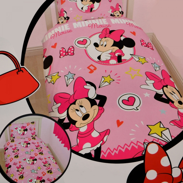 Disney minnie souris style lit simple rotatif ensemble for Ensemble couette