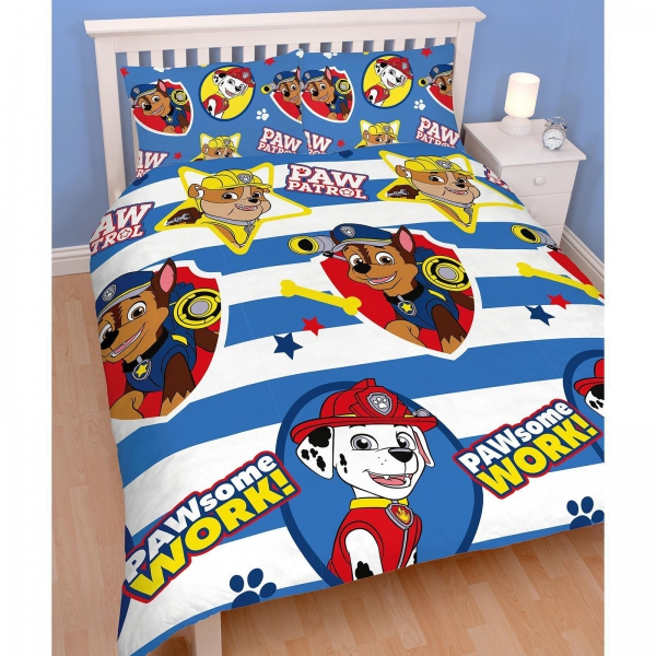 paw patrol 39 pawsome 39 wende drehbar doppelbett bettw sche set neu geschenk ebay. Black Bedroom Furniture Sets. Home Design Ideas