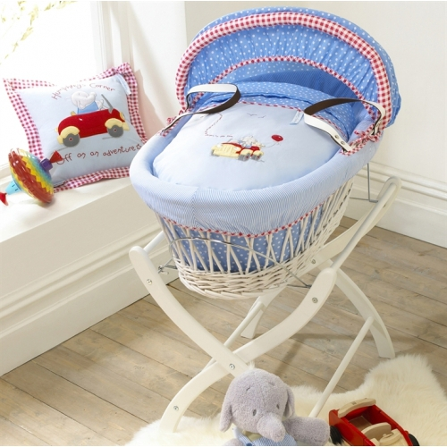 Handmade Wicker Moses Basket : Izziwotnot humphrey s little red car wicker moses basket