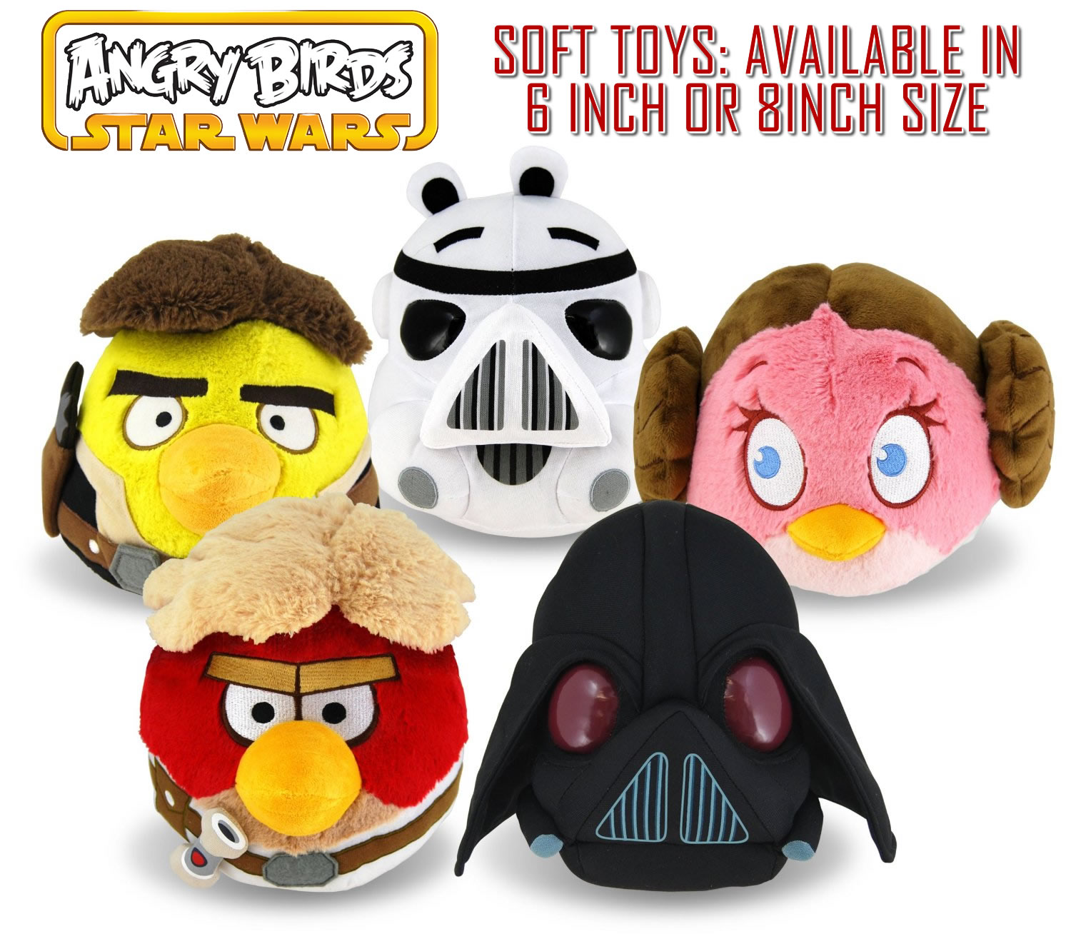 Angry Birds Star Wars 6 or 8 Inch Plush Soft Toy All Characters