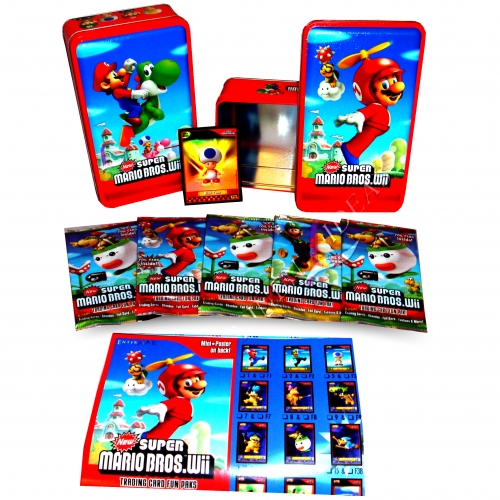 Super Mario Bros Wii Assorted Trading Cards Tin Case Collectable Brand